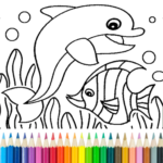 Dolphin and fish coloring book MOD APK v16.3.2