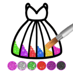 Glitter dress coloring and drawing book for Kids MOD APK 4.2
