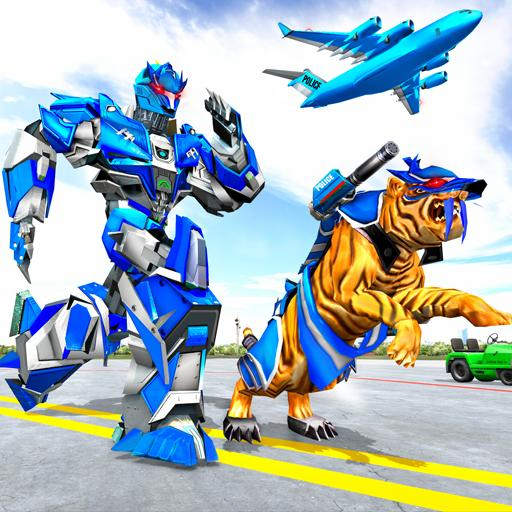 US Police Tiger Robot Game: Police Plane Transport MOD APK